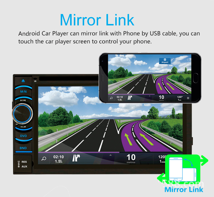 Quad Core Android 5.1.1 Car DVD player 6.5 inch HD touch screen built in GPS Navigation bluetooth WIFI support rear view camera