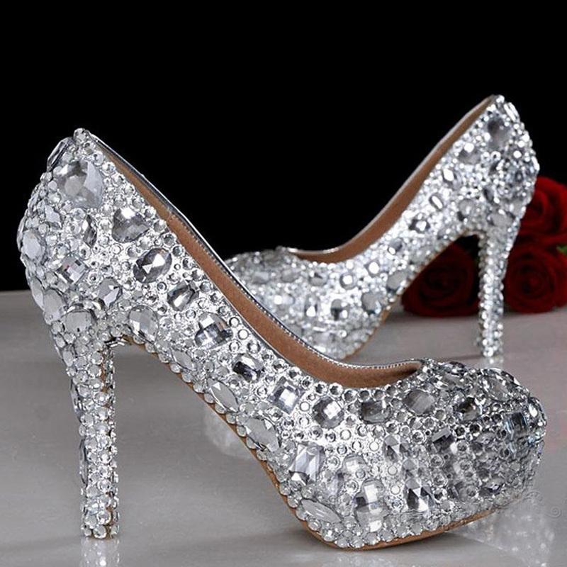 Beautiful silver small crystals mix with big diamonds Bridal Shoes short heels and high heels pumps party shoes Bridesmaid Shoes(China (Mainland))