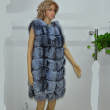 Real fur fox silver women's vest long O-neck full pelt fashion noble Quality, after dry cleaning(China (Mainland))
