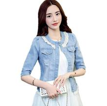 New Fashion Beaded Lace Denim Jacket Women Slim was thin short jeans Jackets Outerwear D1528