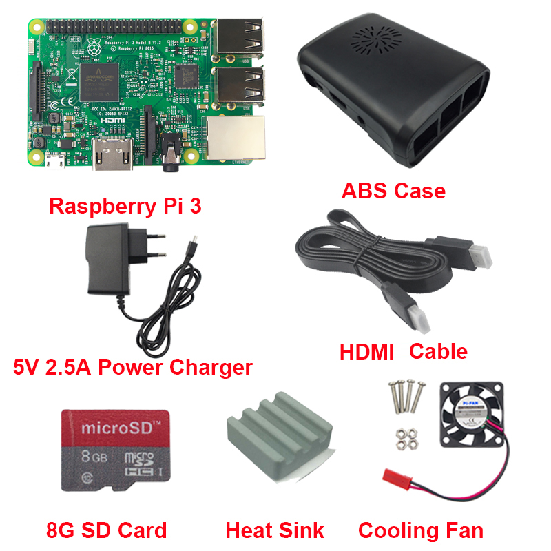 Raspberry Pi 3 Board + 5V 2.5A Power Charger + Case +Heat Sink +Cooling Fan + HDMI Cable + 8G SD Card For Raspberry Pi 3 Model B(China (Mainland))