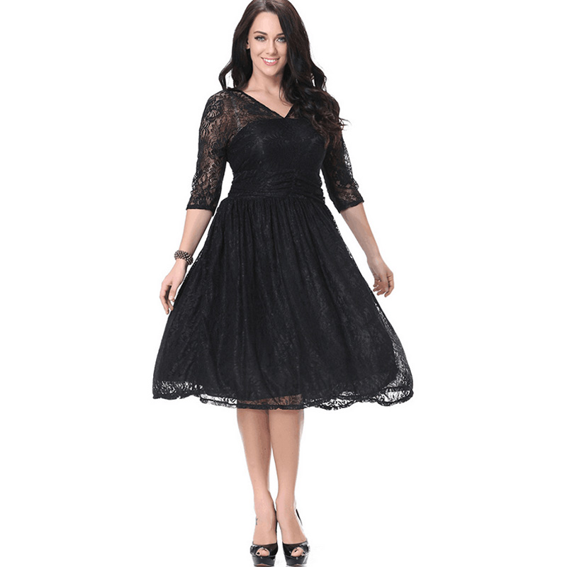 2016 Plus Size Lace Women Dresses Vestidos Solid Patchwork Sexy Dress XL-7XL High Waist V Neck Half Sleeve Black Dress Ball Gown