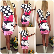 2016 NEW Sexy Women Dress Minnie Mouse Print Cute Fashion short Sleeve Summer Dress(China (Mainland))