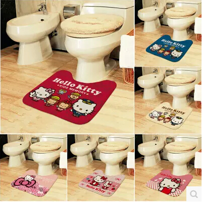 hello kitty flannel non-slipground mat carpet for bathroom mat for the toilet baby kids childr U type foot pad pedestal pan mat(China (Mainland))