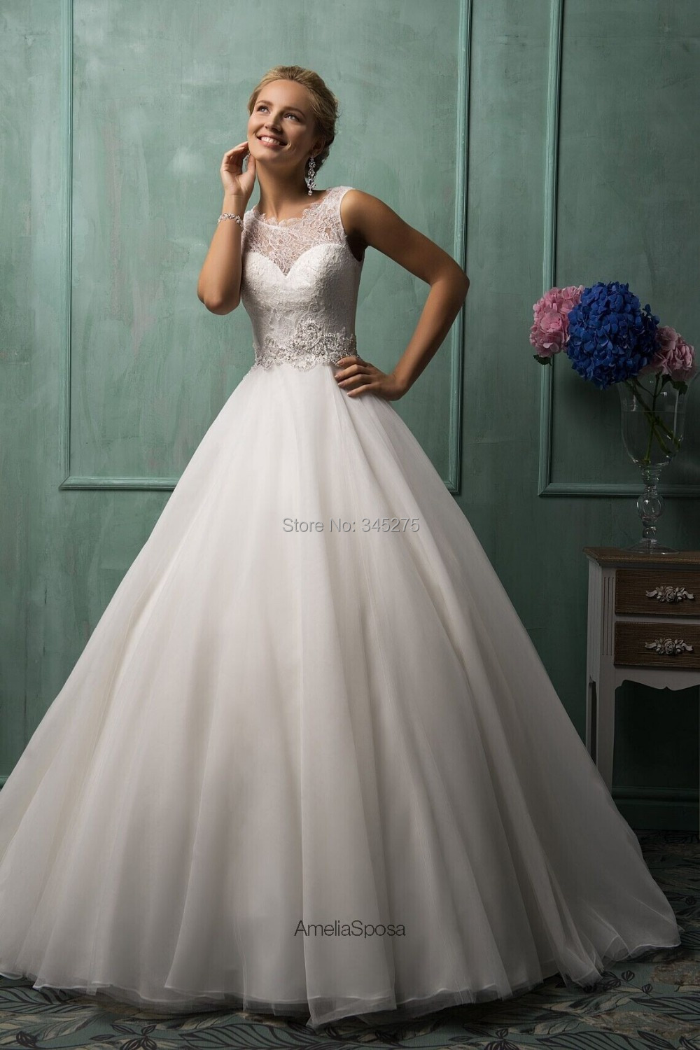 Designer Italy sheer illusion see though lace neckline and back free custom tulle wedding dress a line 2014 vestido de noiva(China (Mainland))