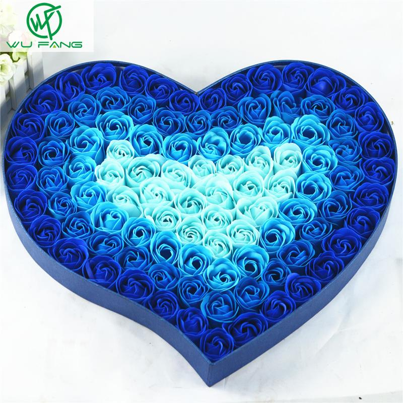 100pcs gradient color simulation rose soap flowers Teacher/Mother's Day Valentine's Day special birthday gift favors boxes(China (Mainland))