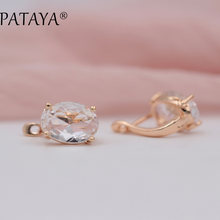 PATAYA Romantic Vintage Green Earrings 585 Rose Gold White Oval Natural Cubic Zirconia Indian Jewelry Women Chandelier Earrings(China)