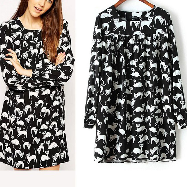 Exclusive Women Long Sleeve Dress 2015 Spring Black Slim Dress Cats Printed Generous Dress Elegant Cocktail Party Dress CI123(China (Mainland))
