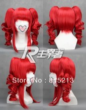 ddh001 Vocaloid Teto Kasane Red 2 Clips on Ponytails Cosplay Wig +fast Cap Net(China (Mainland))