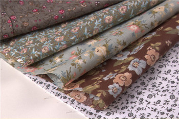 5Dark color Brown Russian blue floral flower Printed cotton fabric for Sewing Patchwork cloth Fat Quarter Tilda Quilting 50*50cm