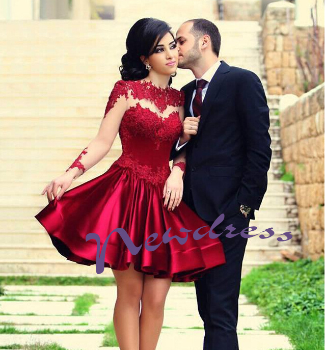 long sleeve discount red short prom dresses, cheap junior pretty lace ND073 - NewdressLisa store