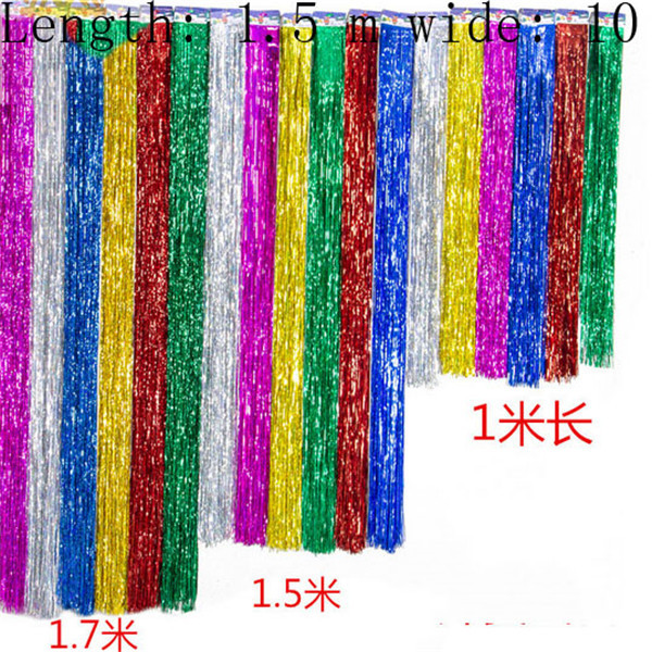 10pcs/lot pet laser rain curtain decorative garland 100*5cm Christmas party arranged a birthday party streamers New Year supply(China (Mainland))