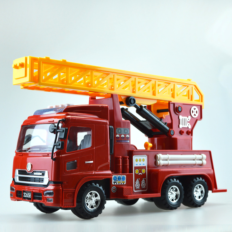 1 Pcs Luxurious Exquisite Truck Fire Truck Car Model Sound & Light Scaling Ladder Vehicle Educational Toys Children Gift Box(China (Mainland))