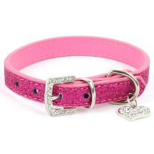 Hot Bling Crystal Pendant Leather Pet Dog Collars Puppy Cat Choker Necklaces(China (Mainland))