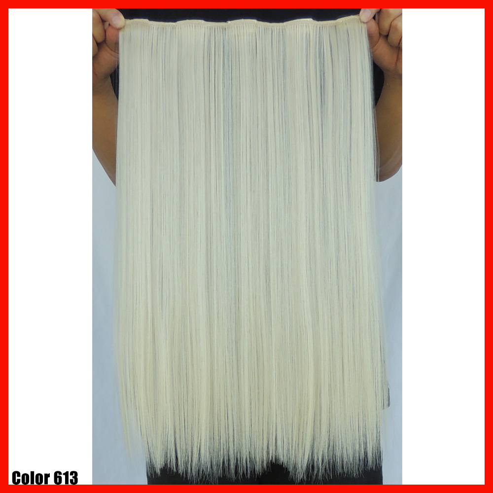20 inch 50g blonde hair extensions straight hairextensions synthetic clip in hair extension hairpiece accessories color 613<br><br>Aliexpress