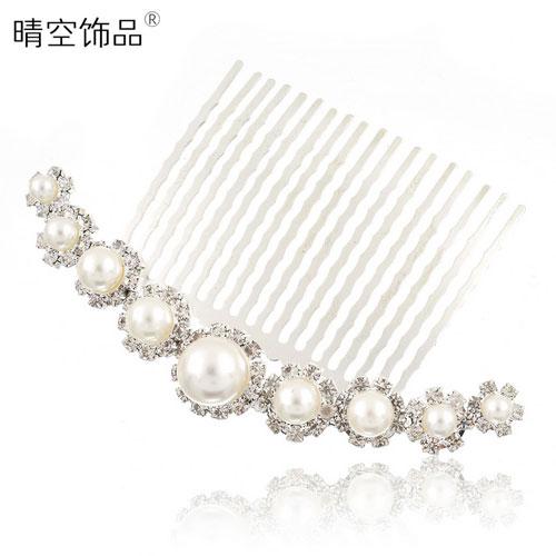 Pearl accessories the bride hair accessory rhinestone insert comb hair maker big hair pin hair accessory e640(China (Mainland))