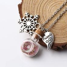 2016 New Pendants Necklaces Link Chain Wishing Glass Bottle Alloy Snow Shape /Half Heart Pendant Women Jewelry Wholesale NS2714