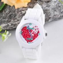 Hot Marketing  2015 Women Silicone Jelly Red Heart petals Quartz Analog Sports Wrist Watch J15
