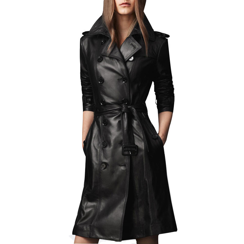 Womens Autumn PU Leather Trench Coat 2015 Ladies Punk Double-breasted Sashes Slim Long Jacket Overcoat