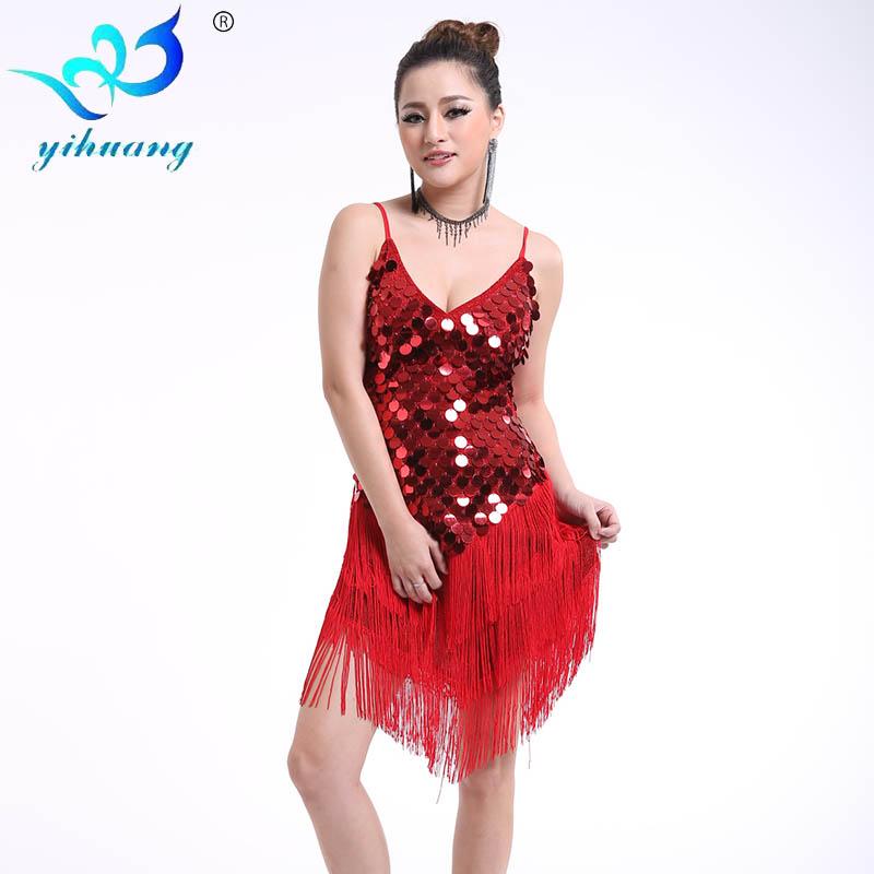 Round Sequins Latin Dance Dress Women Strap V Neck Tango Ballroom Salsa Dance Dress Party Costume Dancewear Tassel Strap Dresses(China (Mainland))