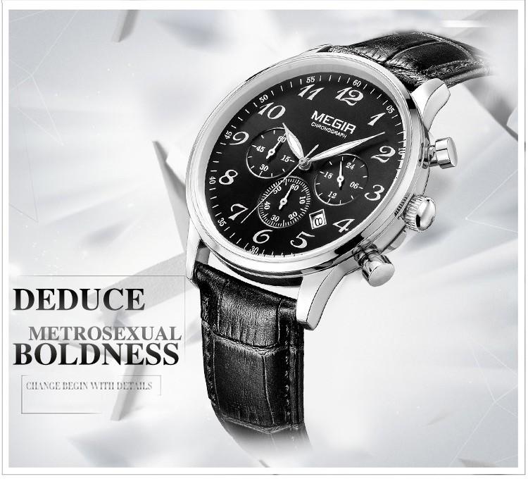 MEGIR 3781 Календарь Luxury Brand Кожа Часы Мужчины Моды Случайные Спортивные Кварцевые Бизнес Наручные Часы Час Relogio Masculino