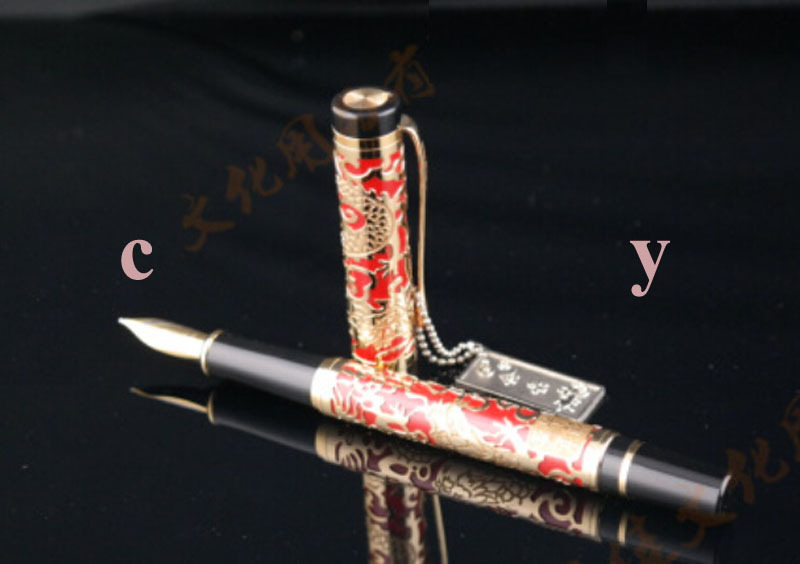 CY Jinhao Red Embossed golden dragon Pens High Quality Fountain Pen as gift stationery(China (Mainland))