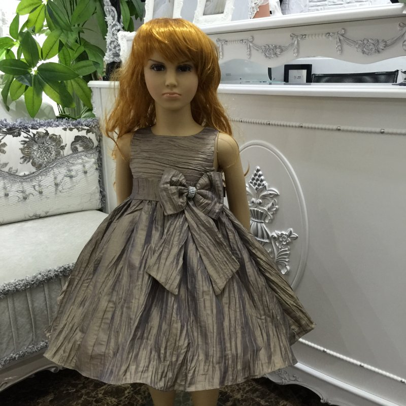 Glamour Factory Hot Sales Party Dress For Girl 2-8 Years 2016 New Taffeta Girl Dress with Bow Apricot Children Evening Gown 2189(China (Mainland))