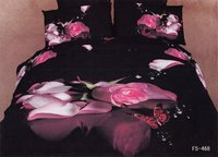 New hot Beautiful 100% Cotton 4pc Doona Duvet QUILT Cover Set bedding set Full / Queen/  King size 4pcs black pink rose