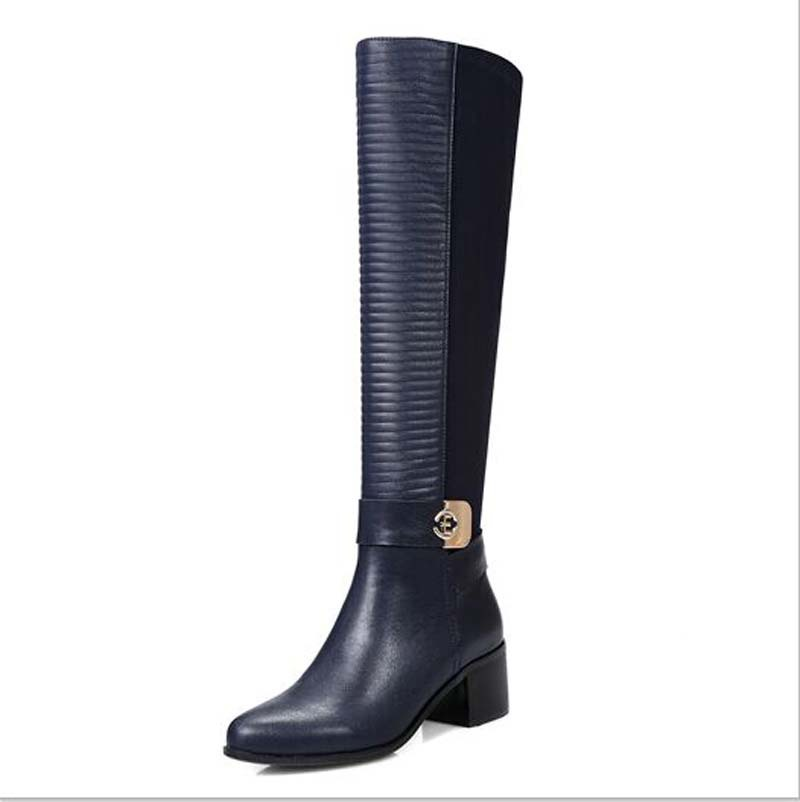 leather boots new high quality warm knee high boots