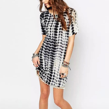 2016 fashion hairball hem geometry print women summer dress loose casual straight dressLBEB0425-8186(China (Mainland))