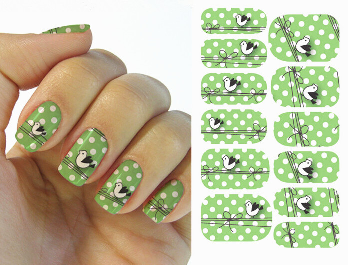 Water Transfer Nail Art Stickers Decal Green Full Wraps Cute White Birds Spots Design DIY French Manicure(China (Mainland))