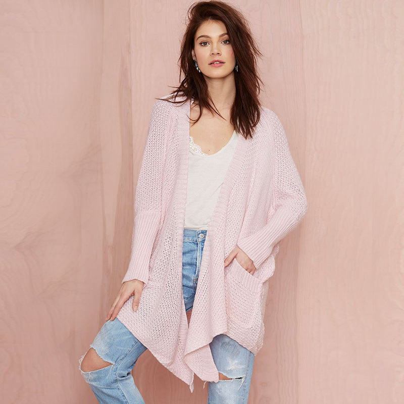 Fashion knitted sweaters 2015 pink long cardigan feminino plus size loose casual womens capes and ponchoes winter sweater sale(China (Mainland))