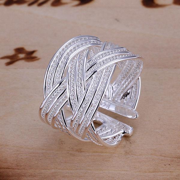 Free Shipping 925 Sterling Silver Ring Fine Fashion Big Net Weaving Silver Jewelry Ring Women&Men Gift Finger Rings YFSR024(China (Mainland))