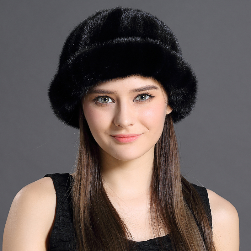 Mink Fur Bucket Hat Fashion Winter Solid Color Real Animals Fur Thicken Protective Headwear Female Natural Mink Fur Buckets Cap(China (Mainland))