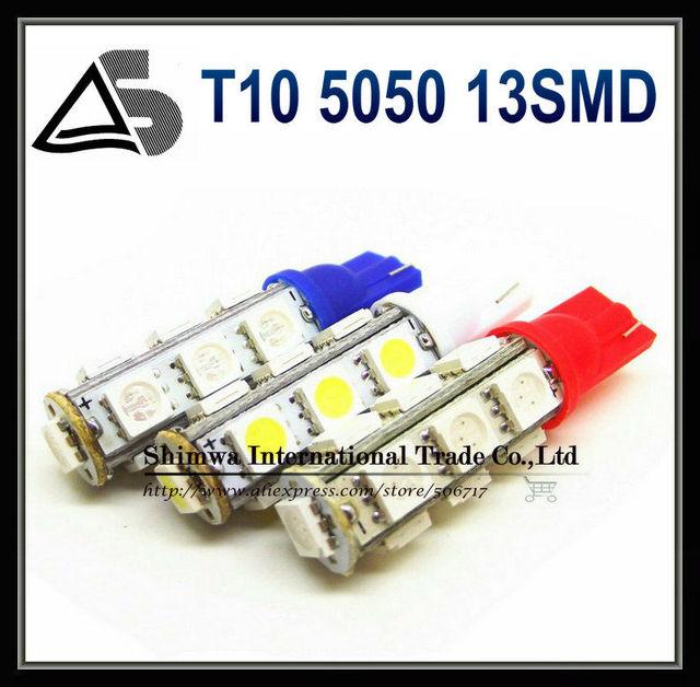 Wholesale 800pcs/lot T10 5050 13SMD 194 168 192 W5W Car LED Light Automobile Bulbs Lamp Wedge Interior Light