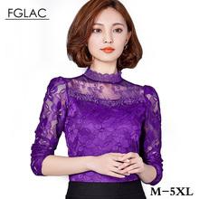 5XL Plus size women clothing New 2016 Autumn Women lace tops Fashion Elegant blouse shirt Long-sleeve Sexy Hollow lace shirt(China (Mainland))