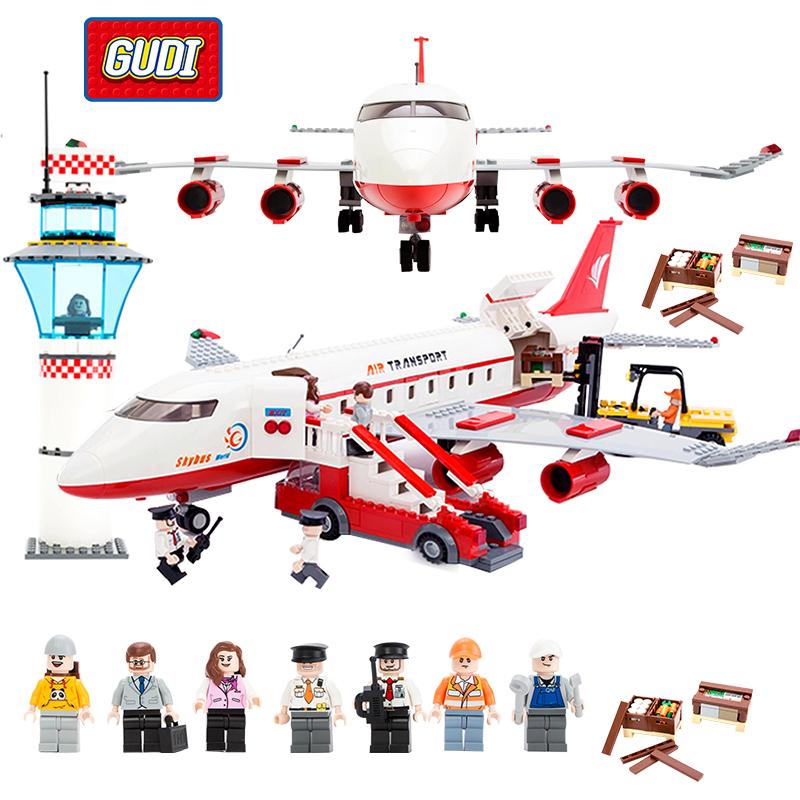 GUDI City Large Passenger Plane Airplane Blocks 856pcs Building Block Sets Juguetes Educational Bricks Building Toy For Children(China (Mainland))