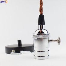 IWHD Vintage E27 Lamp Holder E27 Socket Vintage Lampholder Edison Base Vintage Loft Industrial Pendant Light With Wire(China)