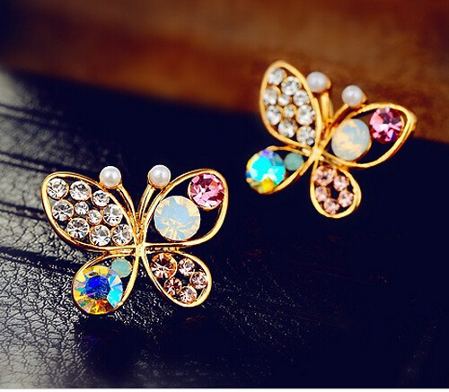 Promotion Fashion 18K Gold Plated Women Lovely Butterfly Hollow Color Crystal Stud Earrings TH-E2(China (Mainland))