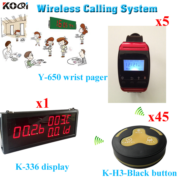 Waiter Server Paging Service System;1pcs Big LED Screen and 5pcs Wrist Pagers W 45pcs Press Buttons(China (Mainland))