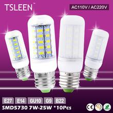 Buy TSLEEN 10PIECES WARM COOL WHITE 5730 SMD LED LAMP CORN BULB LIGHT 110V 220V E27 B22 GU10 E14 G9 for $18.23 in AliExpress store
