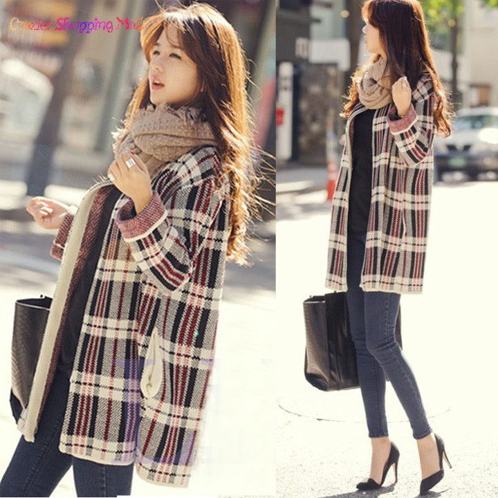 2014 Women Fashion Spring Autumn Plaid Pattern Winter Cardigans Knitted Sweater Women Casual Long Sleeve loose coat SV14(China (Mainland))