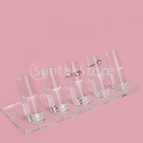 Free Shipping 1-5 Finger Ring Display Jewelry Holder Clear Acrylic Stand(China (Mainland))