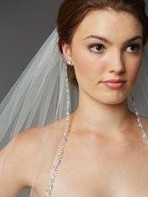 Pearls Rhinestones Wedding Veils High Quality Long Bridal Veil Custom Mantilla Cathedral Width Beading Edge Bride Veils V727(China (Mainland))