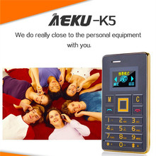 Original Ultra Thin mini AEKU K5 Cell Phones Student Version Credit Card Mobile Phone FM Bluetooth PK AIEK M5 Card Cell Phone