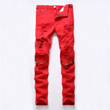 NEW Dropshipping Red White Black Ripped Denim Knee Hole Zipper Biker Jeans Men Slim Skinny Torn Jean Pants Cotton Women Jeans(China)