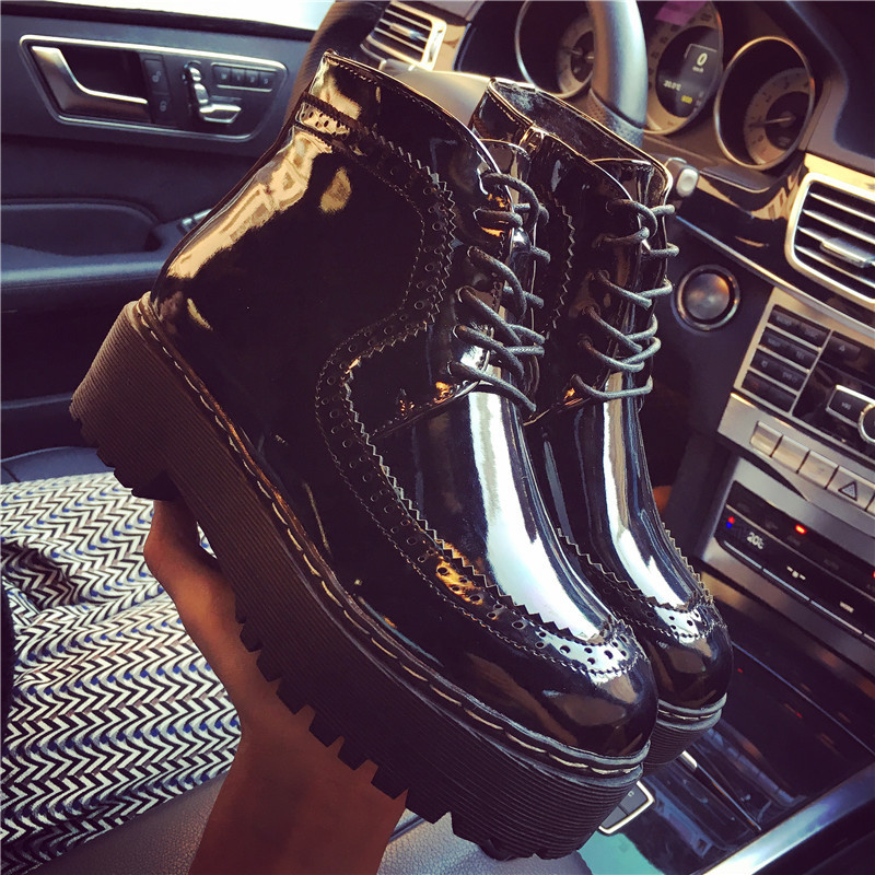Harajuku Short boots solar system Autumn winter The thickness of the bottom Women's shoes With Retro England Martin black Knight(China (Mainland))