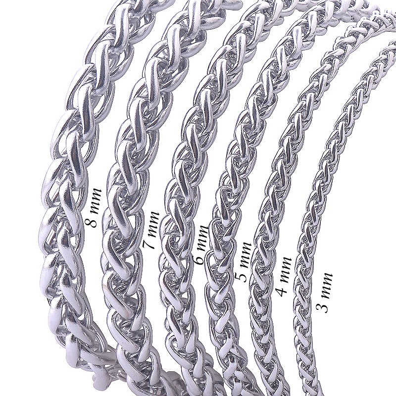 Free Shipping Stainless Steel Men Necklace Chain 3 4 5 6 7 8MM Link Chain Men Necklaces High Quality Never Fade(China (Mainland))