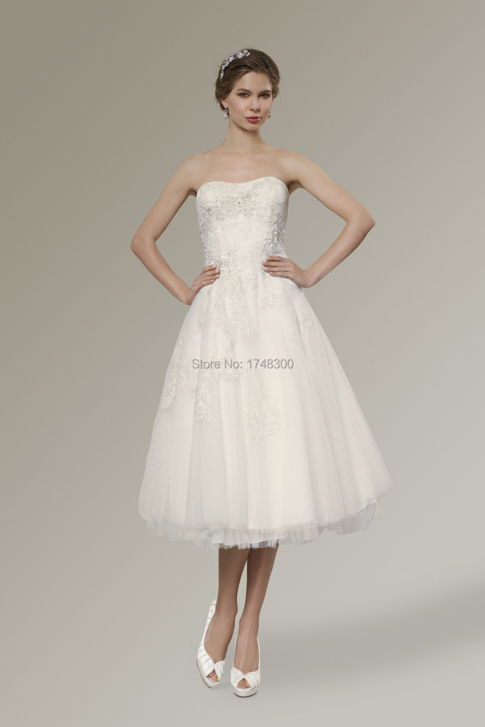 Summer beach white mid calf length weding dresses for Calf length wedding dresses