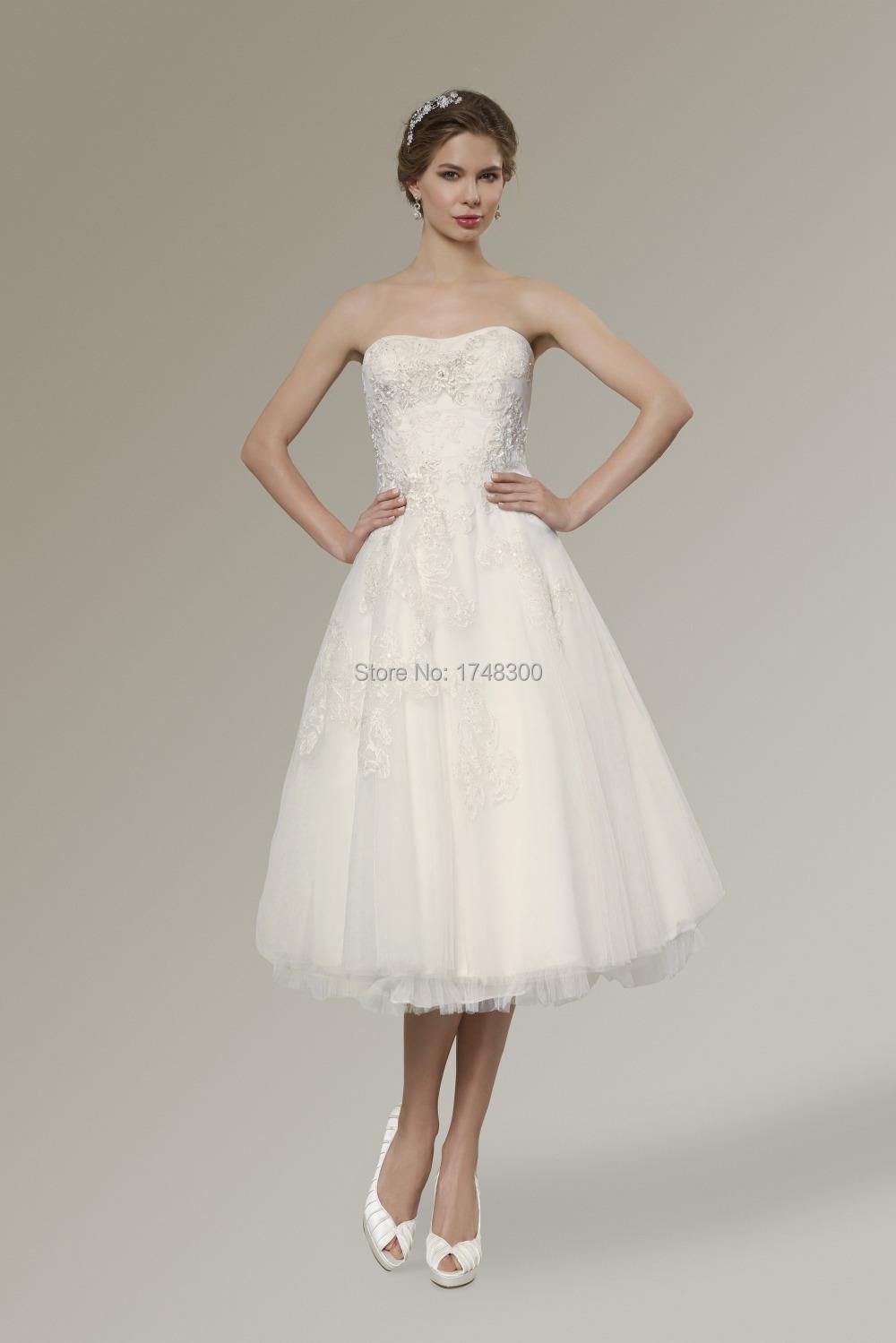 Summer beach white mid calf length weding dresses for Lace mid length wedding dresses